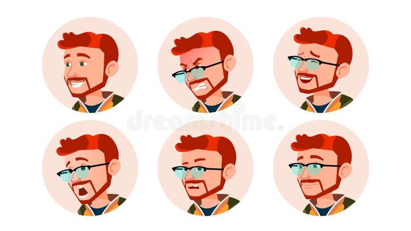 Vektor för manAvatarfolk Komiska sinnesrörelser Rött huvud, Ginger Flat Handsome Manager Lyckligt olyckligt Skratt som är ilsket  royaltyfri illustrationer