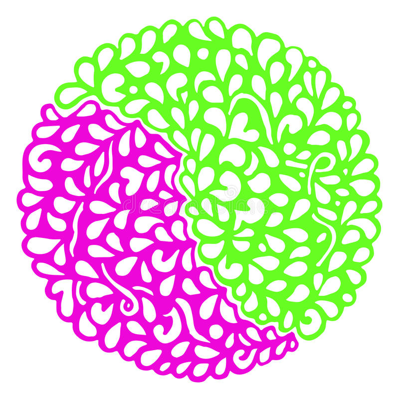 Vektor för mandala för cirkel för klotterrosa färggräsplan dekorativ royaltyfri illustrationer