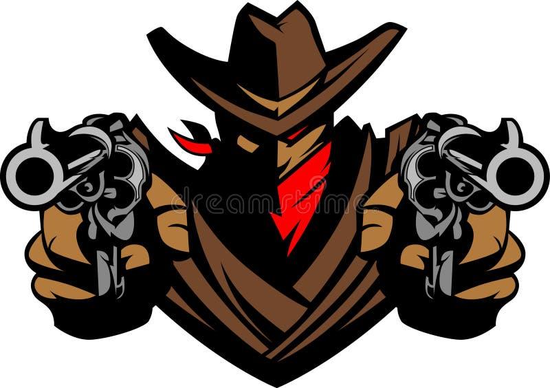 vektor för maskot för cowboyillustrationlogo royaltyfri illustrationer
