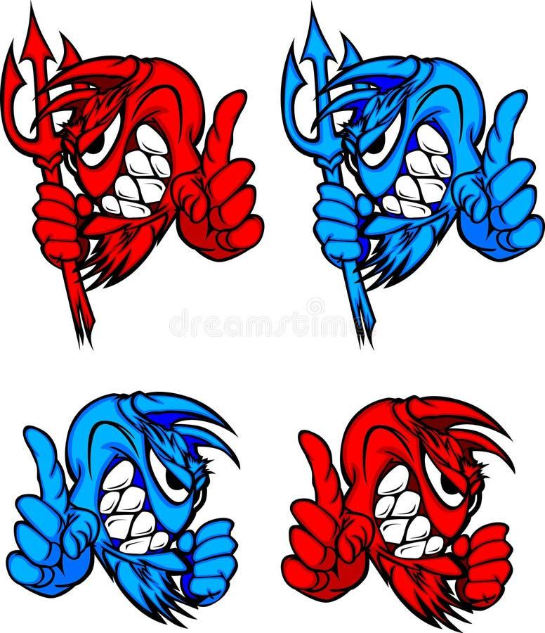 vektor för maskot för demonjäkellogoer royaltyfri illustrationer