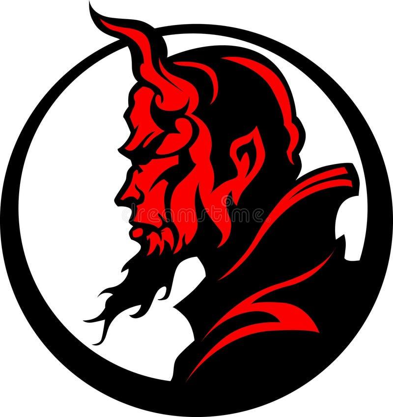 vektor för maskot för illustration för demonjäkelhuvud stock illustrationer