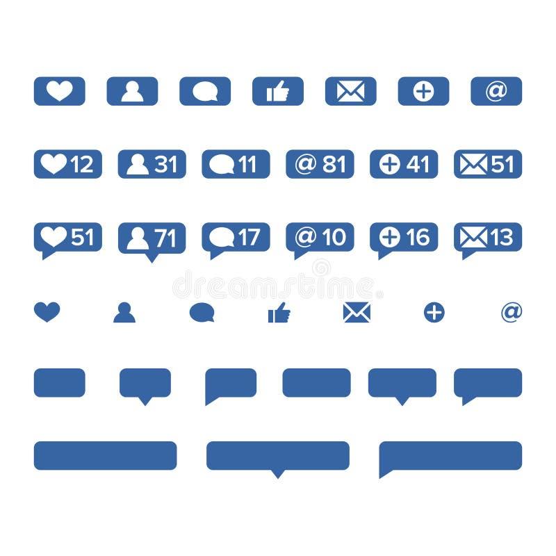 Vektor för meddelandesymbolsmall Sociala nätverksapp-symboler av hjärta gillar, den nya meddelandebubblan, nummer för vänförfråga stock illustrationer
