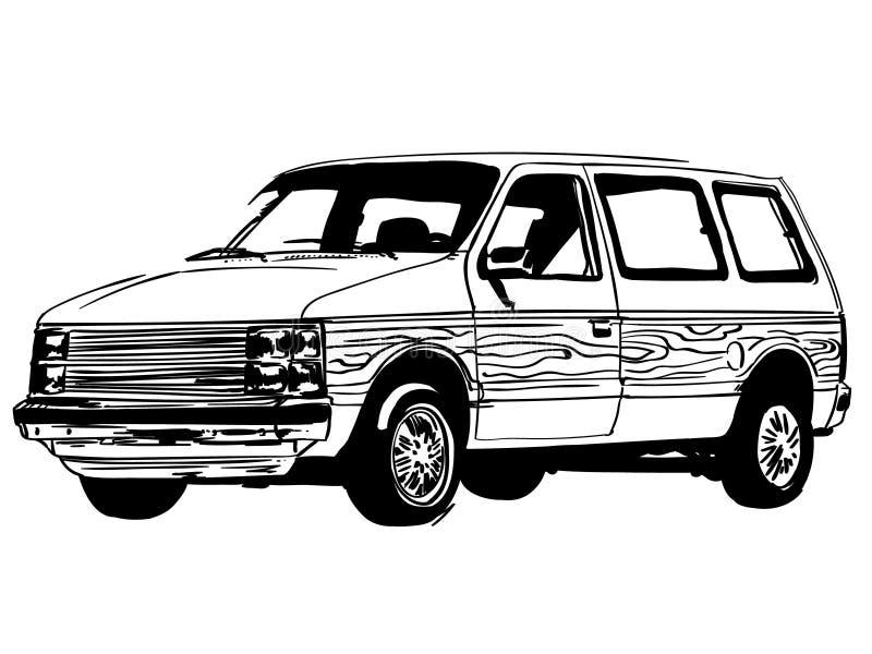 Vektor för minivanvektoreps, Eps, logo, symbol, konturillustration vid crafteroks för olikt bruk Bes?ka min website p? https:// royaltyfri illustrationer