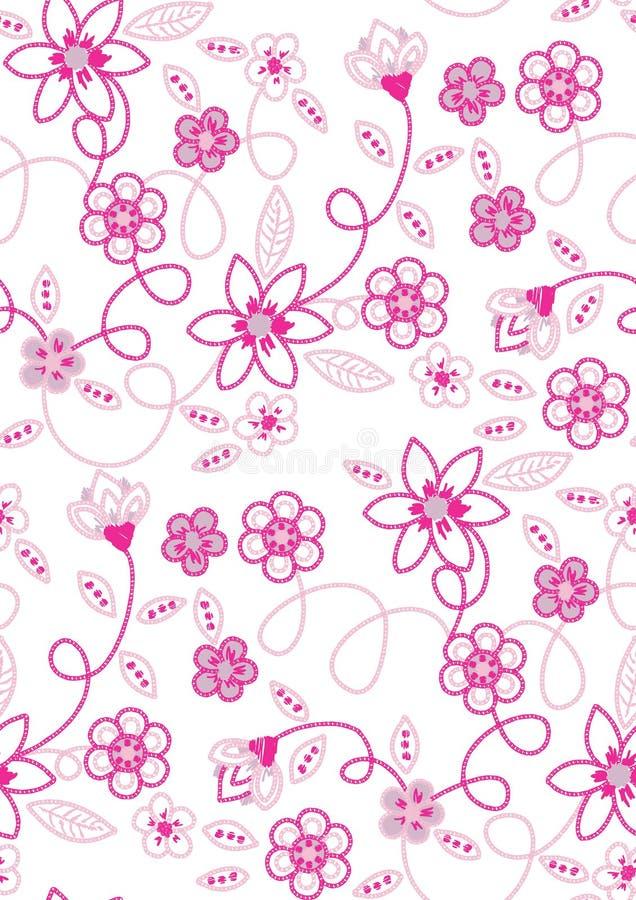 Vektor för modell för blommabroderi sömlös stock illustrationer