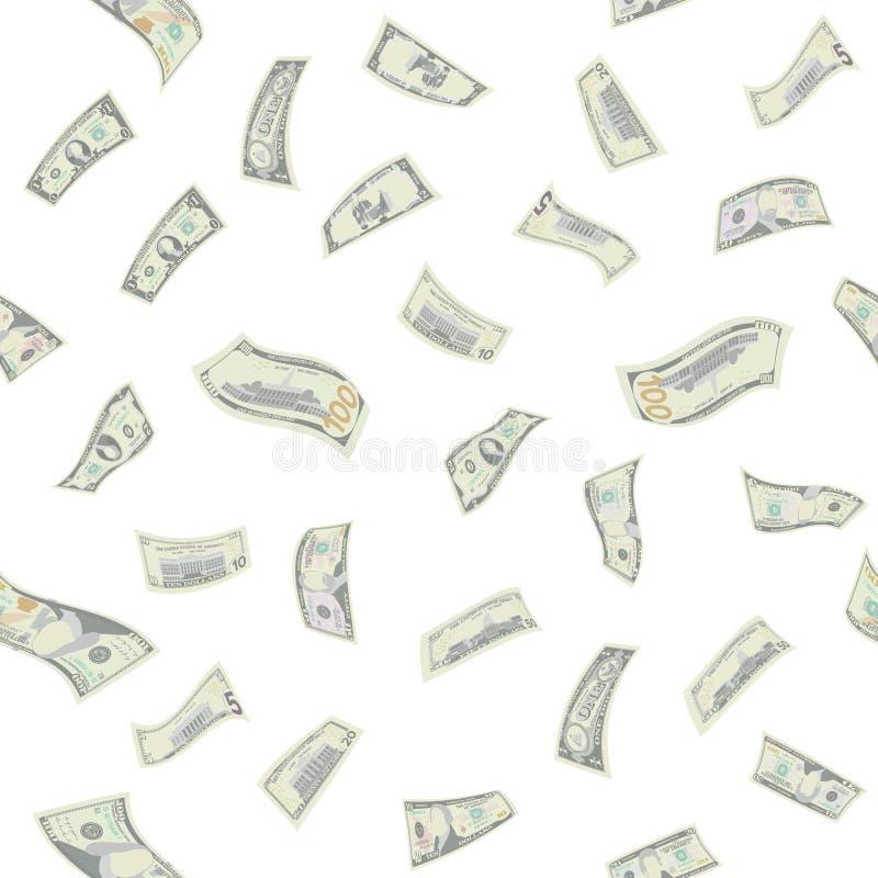 Vektor för modell för flygdollar sömlös Sedlar för tecknad filmpengarräkningar Fallande finans isolerad knapphandillustration skj stock illustrationer