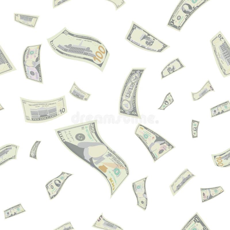 Vektor för modell för flygUS dollar sömlös Tecknad filmpengarräkningar Fallande finans varje valör i den isolerade luften royaltyfri illustrationer
