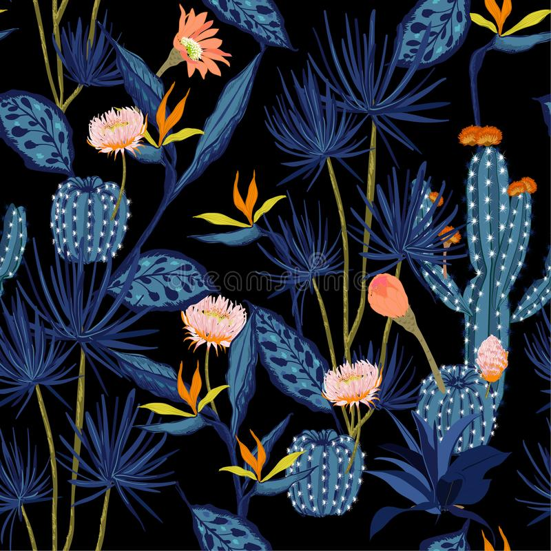 Vektor för modell för mörk summmernatt tropisk sömlös, blomma, fågel vektor illustrationer