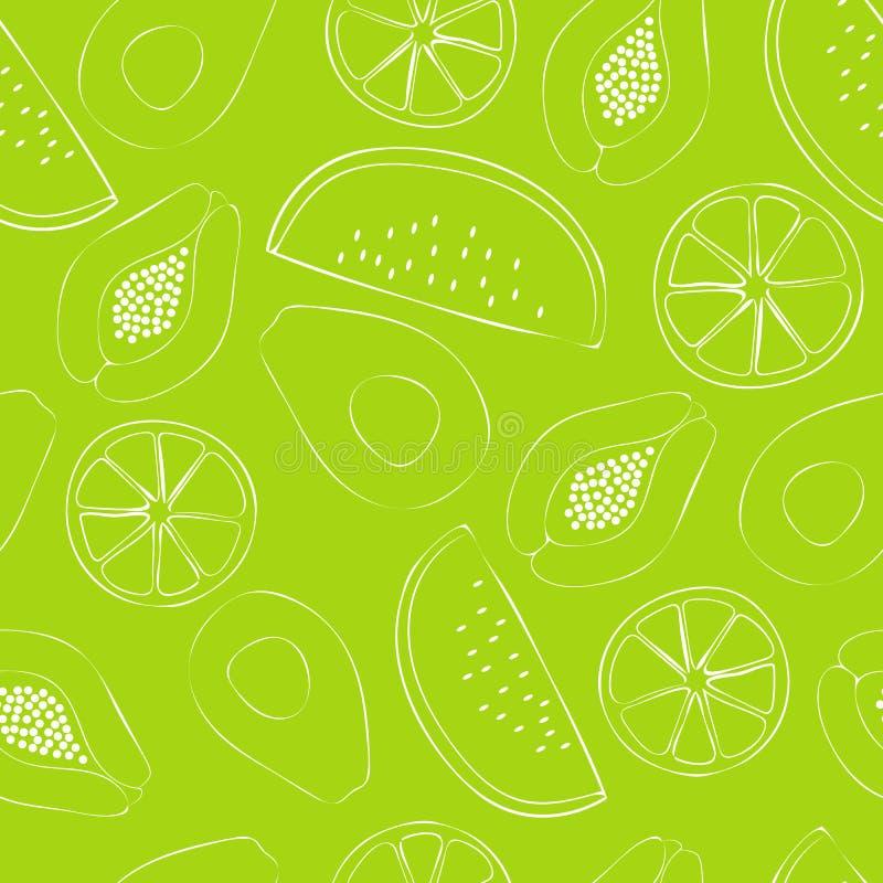 Vektor för modell för repetition för modell för sommar stor limefrukt texturerad sömlös vektor illustrationer