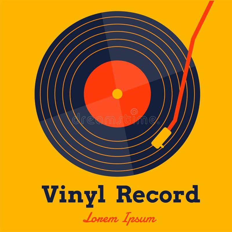 Vektor för musik för vinylrekord med det gula bakgrundsdiagrammet arkivfoton