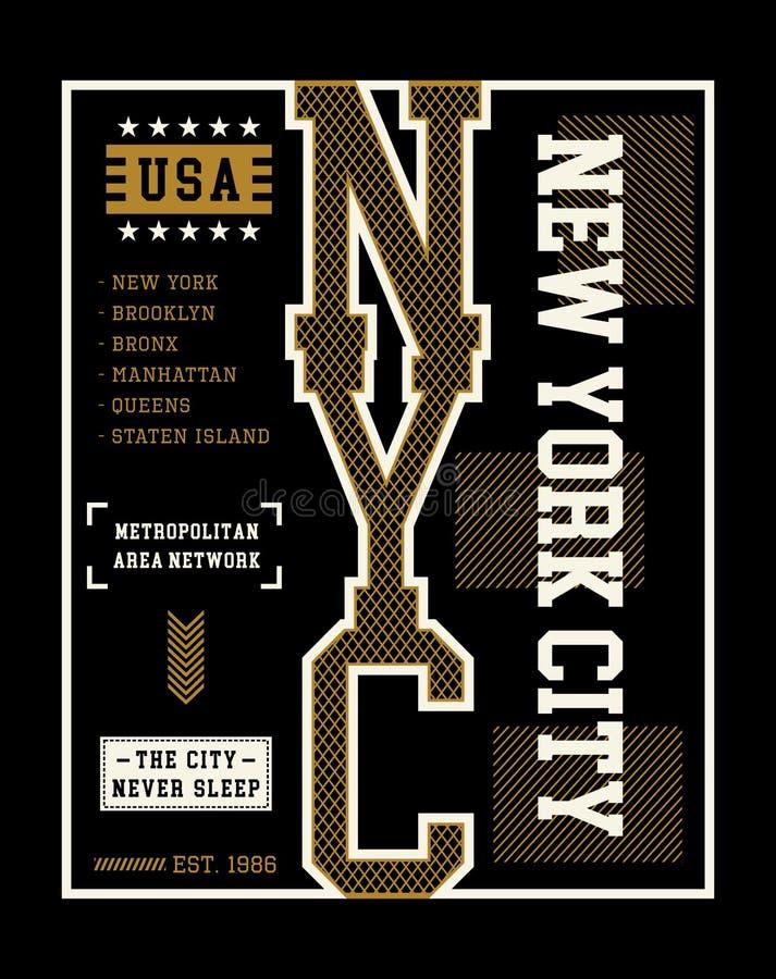 Vektor för New York City T-tröjadiagram stock illustrationer