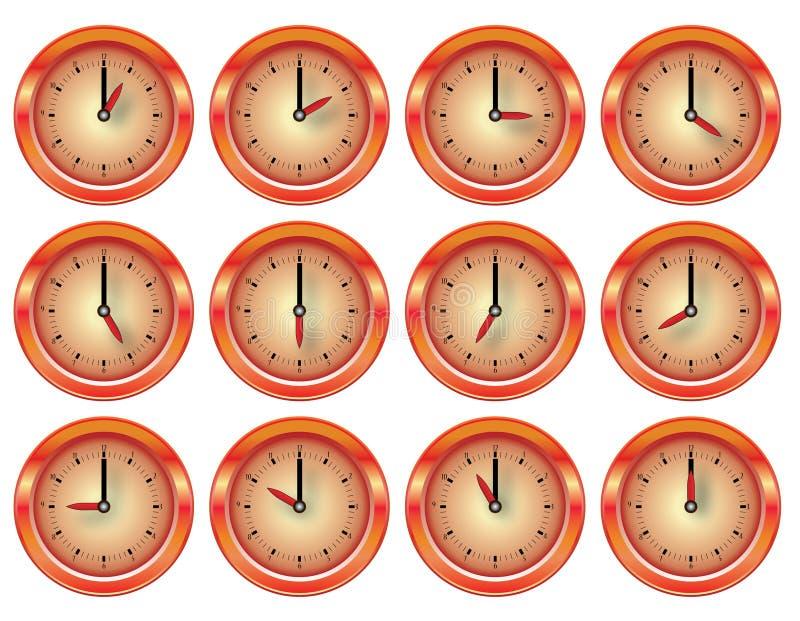vektor för orange red för klocka set blank royaltyfri illustrationer