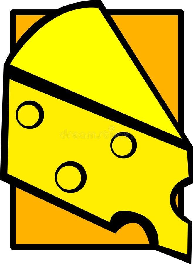 vektor för ostgruyereskiva stock illustrationer