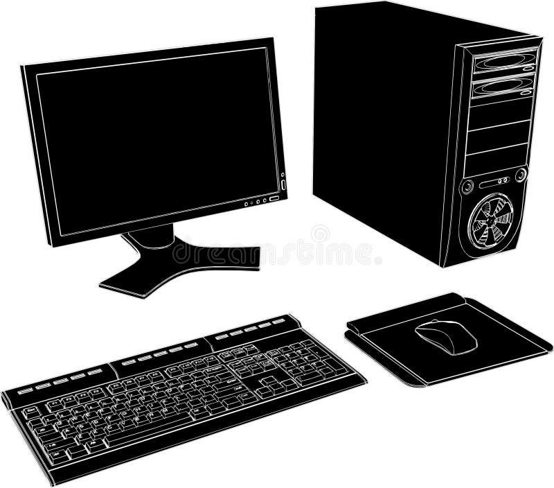 vektor för PC för skrivbord 02 royaltyfri illustrationer