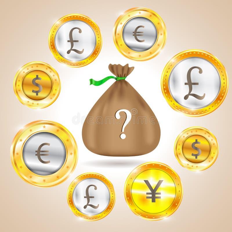 vektor för pengar för bild för grunge för bakgrundspåsediagram Valuta - dollaren - euroet - pund - yen också vektor för coreldraw stock illustrationer