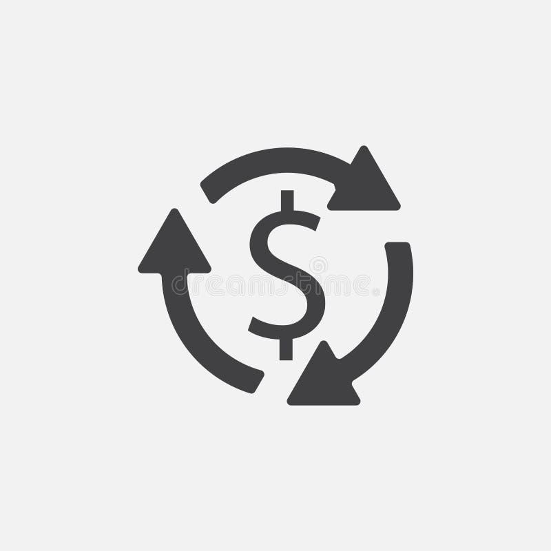 Vektor för pengaromsättningsymbol som isoleras på grå färger stock illustrationer