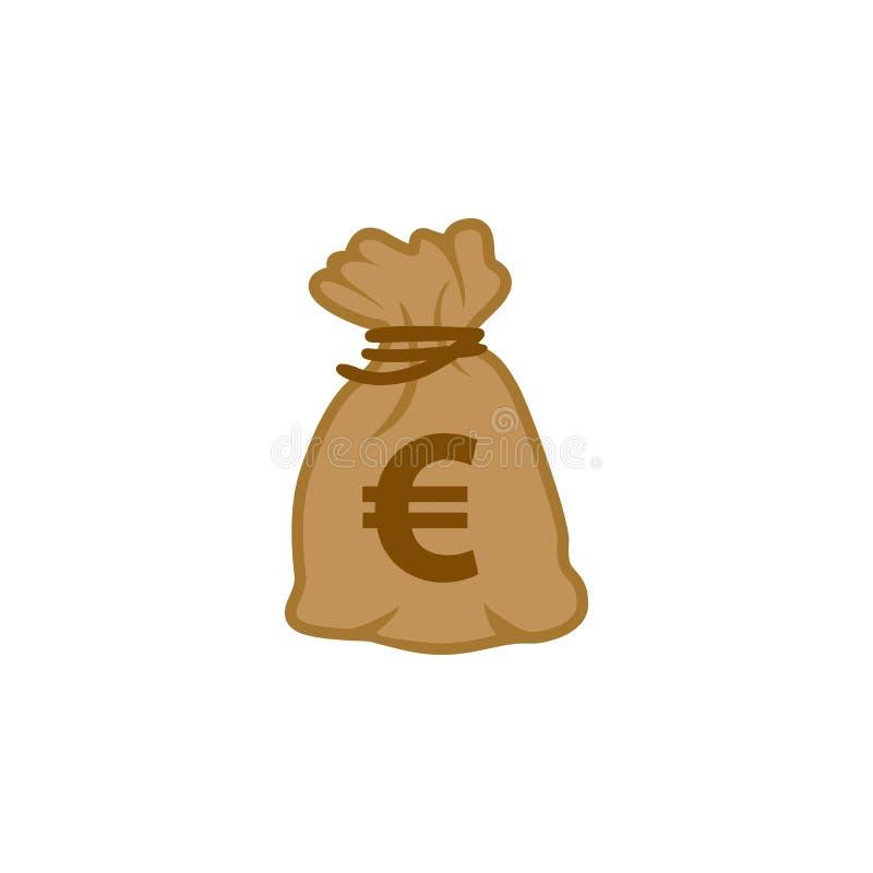 Vektor för pengarpåsesymbol av euroet Europa för världsöverkantvaluta royaltyfri illustrationer