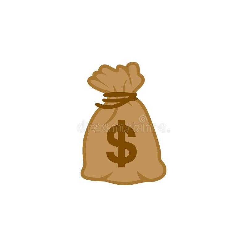 Vektor för pengarpåsesymbol av Förenta staterna för dollar för världsöverkantvaluta royaltyfri illustrationer