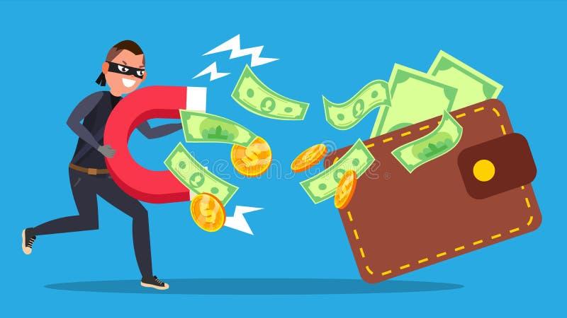 Vektor för Phishing pengarbegrepp Attack för Cyberbankrörelsekonto spoofing tecknad filmcommandertryckspruta hans illustrationsol royaltyfri illustrationer