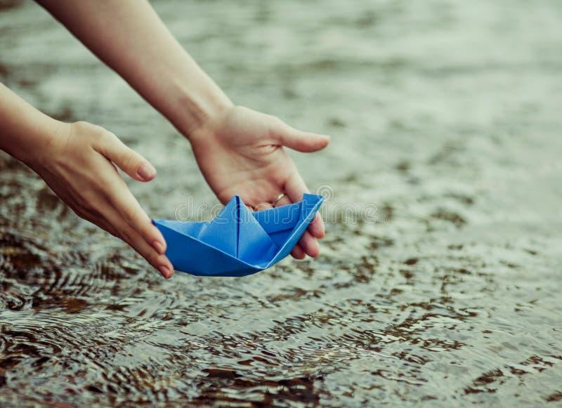 vektor för plan för papper för origami för fartygorienteringstillverkning arkivbild