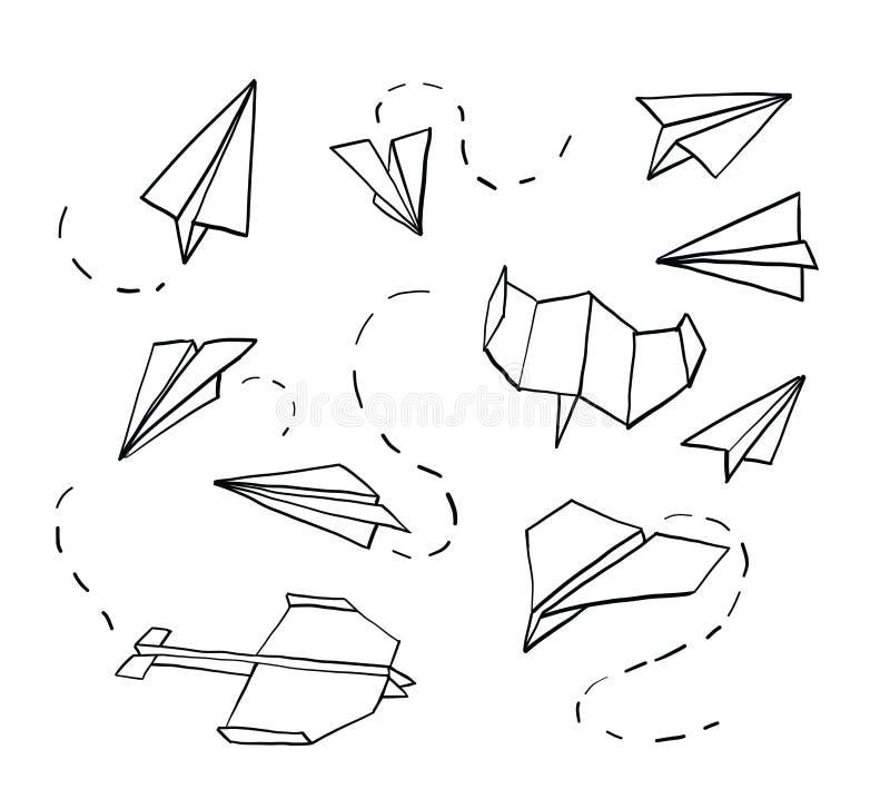 vektor för plan för papper för origami för tillverkning för flygplanillustrationorientering Hand dragit klotterflygplan vektor stock illustrationer