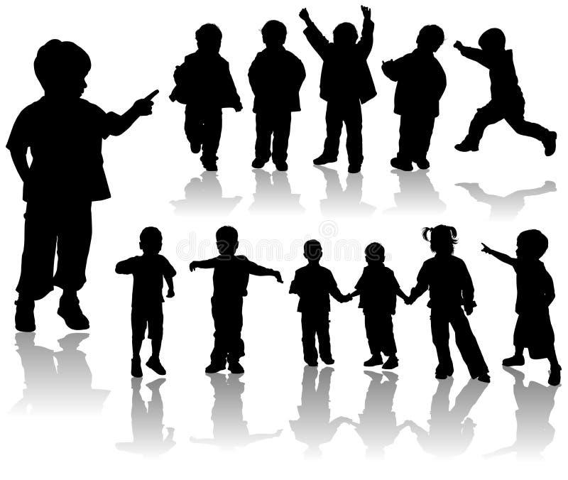 vektor för pojkeflickasilhouette vektor illustrationer