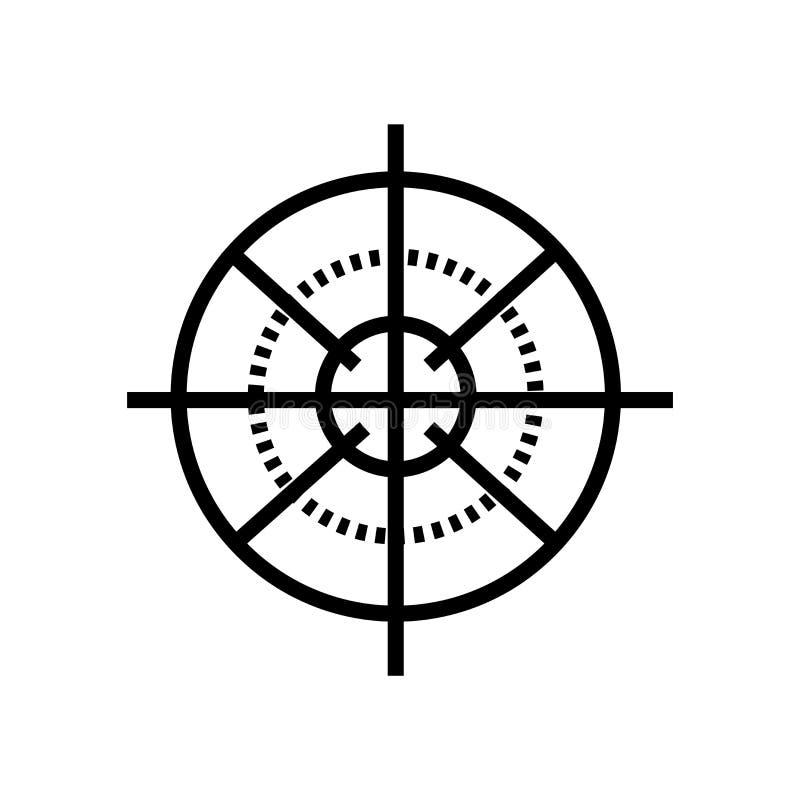Vektor för prickskyttGun Target symbol som in isoleras på vit bakgrund, det prickskyttGun Target tecknet, linjärt symbol och slag royaltyfri illustrationer