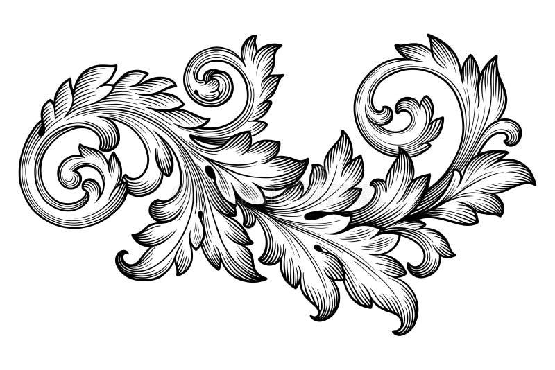 Vektor för prydnad för snirkel för barock lövverk för tappning blom- vektor illustrationer