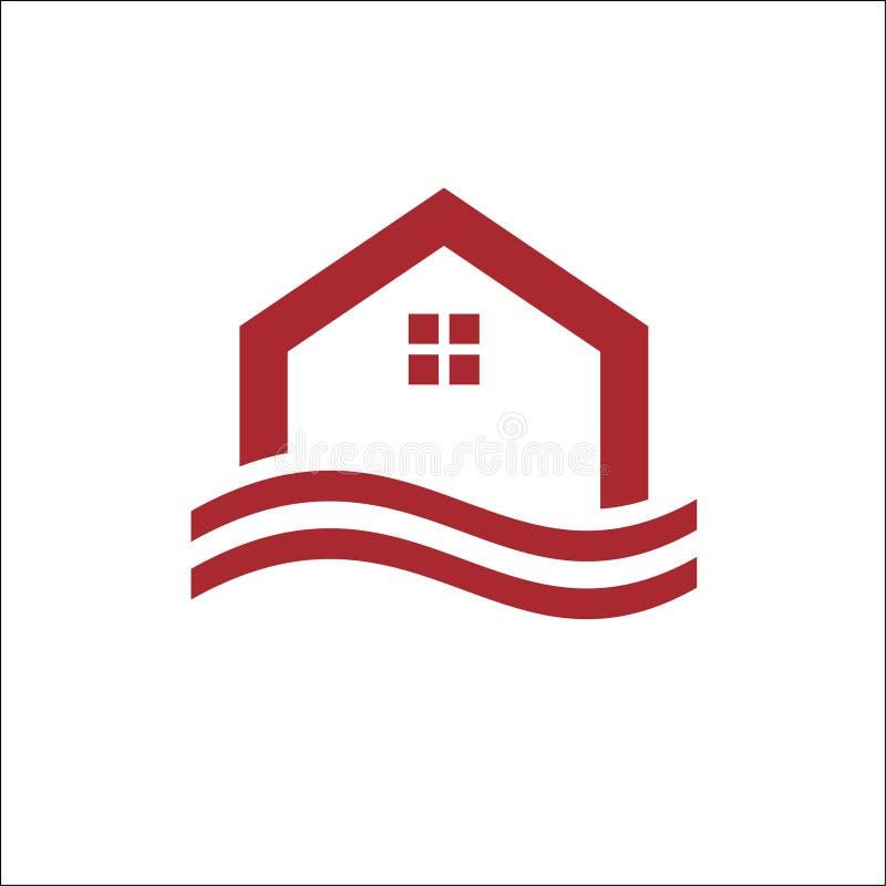 Vektor för Real Estate, egenskaps- och konstruktionslogodesign vektor illustrationer