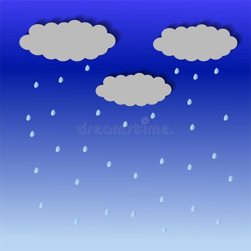 Vektor för regndroppar för regnmoln vektor illustrationer
