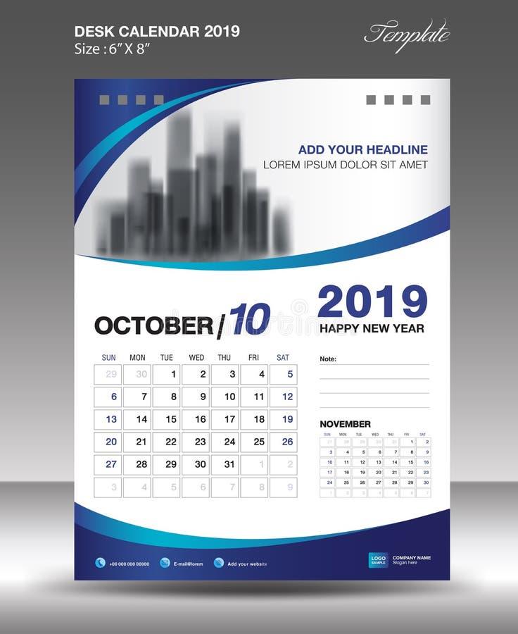 Vektor 2019 för reklamblad för mall för OKTOBER skrivbordkalender vektor illustrationer