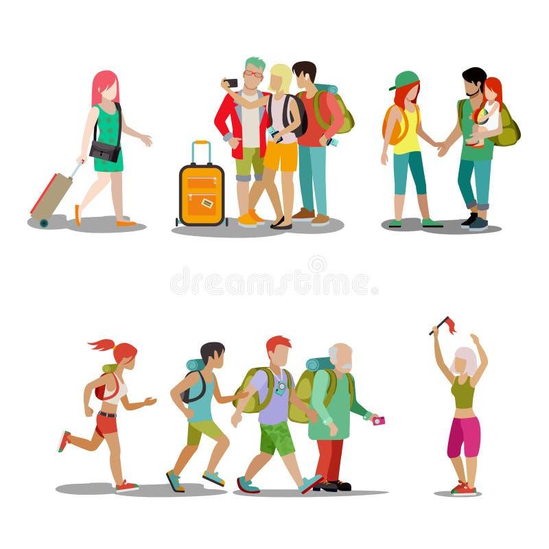 Vektor för rengöringsduk för ferie för uppsättning för symbol för folk för familjsemester vektor illustrationer