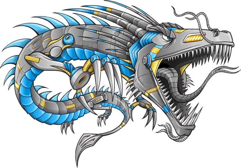 Vektor för robotCyborgdrake royaltyfri illustrationer