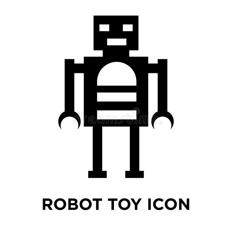 Vektor för robotleksaksymbol som isoleras på vit bakgrund, logobegrepp royaltyfri illustrationer