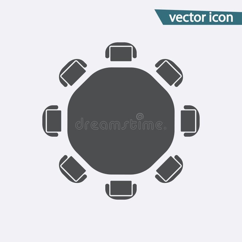 Vektor för rund tabell Isolerad plan symbol för diskussion Modern plan pictogram, affär, marknadsföring som är inter- royaltyfri illustrationer
