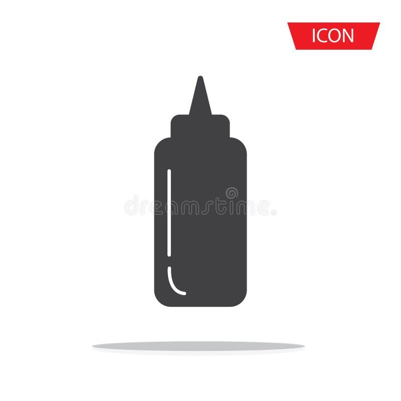 Vektor för såsflasksymbol som isoleras på bakgrund royaltyfri illustrationer