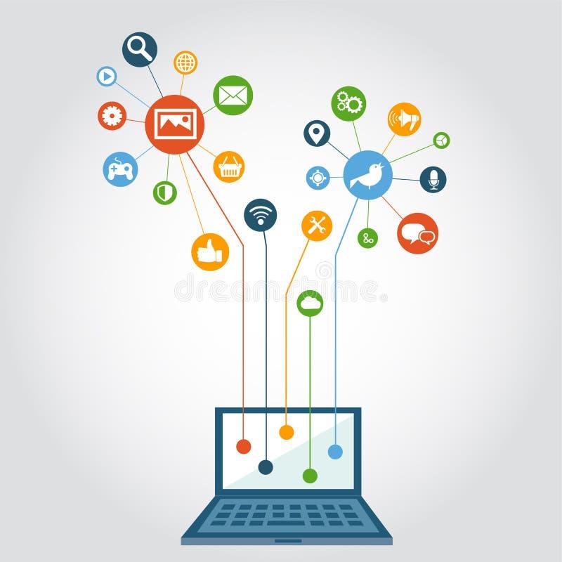 vektor för samkväm för 10 för kommunikationsdator för eps nätverk för globalt nätverk stock illustrationer