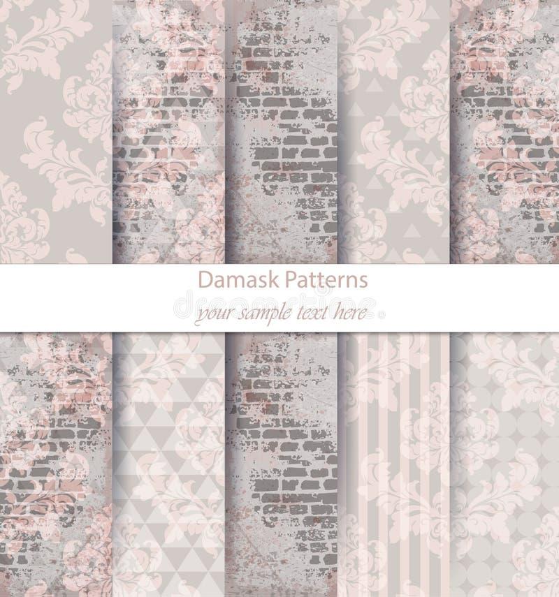 Vektor för samling för damastmodeller fastställd Olika färger för klassisk prydnad med abstrakta bakgrundstexturer Tappningdekore royaltyfri illustrationer