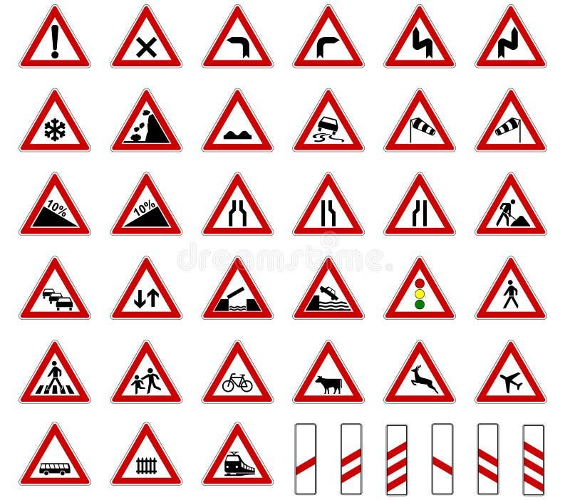 Vektor för samling för tecken för vägEuropa trafik som isoleras på vit bakgrund royaltyfri illustrationer