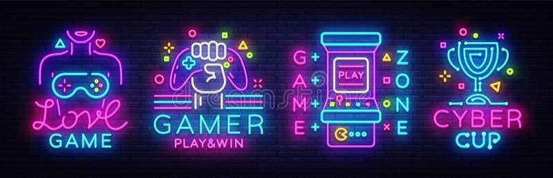 Vektor för samling för videospelneontecken Begreppsmässiga logoer, förälskelselek, Gamerlogo, modig zon, Cybersportemblem i moder royaltyfri illustrationer
