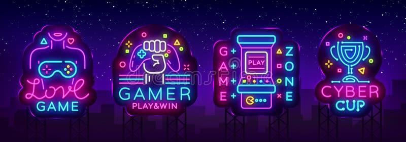 Vektor för samling för videospelneontecken Begreppsmässiga logoer, förälskelselek, Gamerlogo, modig zon, Cybersportemblem i moder vektor illustrationer