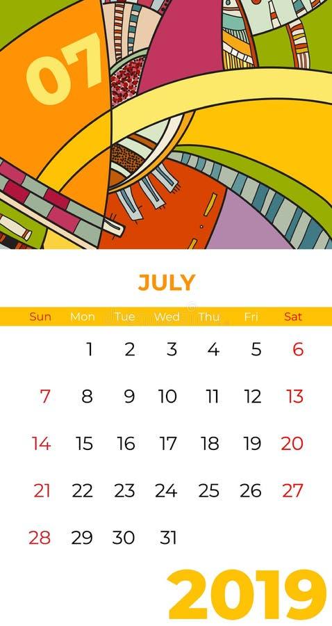 2019 vektor för samtida konst för Juli kalender abstrakt Skrivbord skärm, skrivbords- månad 07,2019, färgrik 2019 kalendermall, d vektor illustrationer