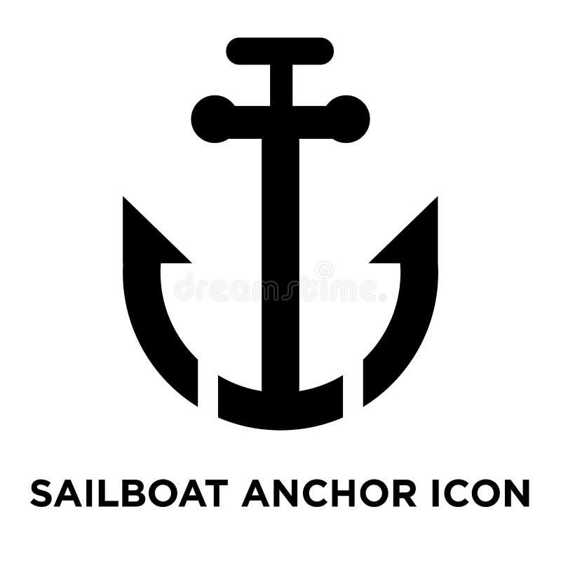 Vektor för segelbåtankarsymbol som isoleras på vit bakgrund, logo c vektor illustrationer