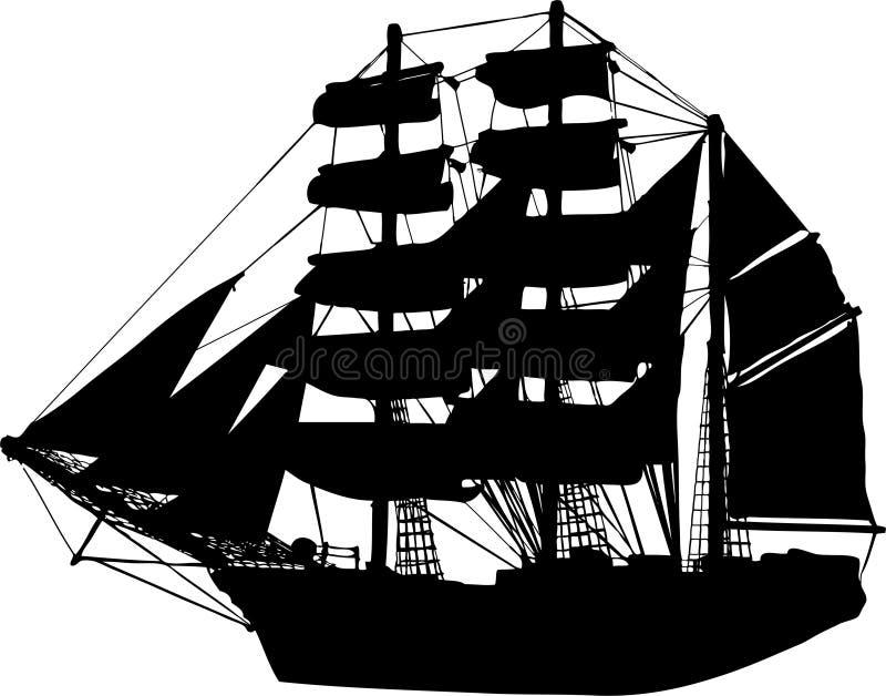 vektor för segelbåtshipsilhouette royaltyfri illustrationer