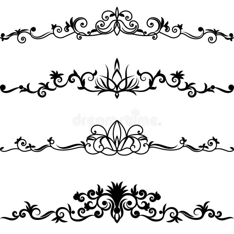 vektor för set för kantdesignelement royaltyfri illustrationer