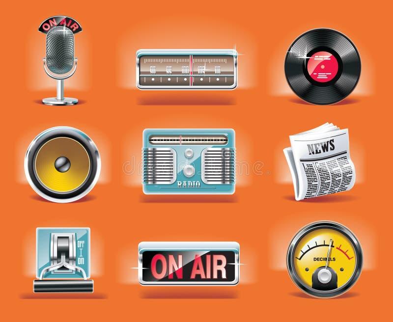 vektor för set för radio för bakgrundssymbol orange vektor illustrationer