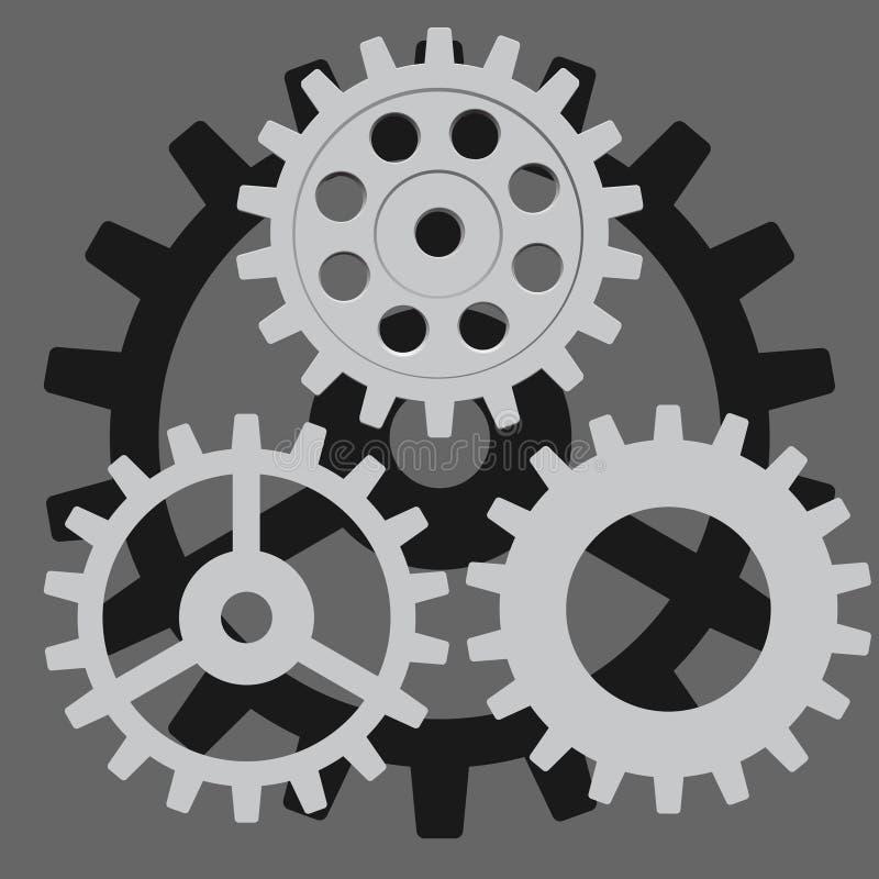vektor för set för tecknad filmhjärtor polar Kugghjul kugge, tandhjul, hjul vektor illustrationer