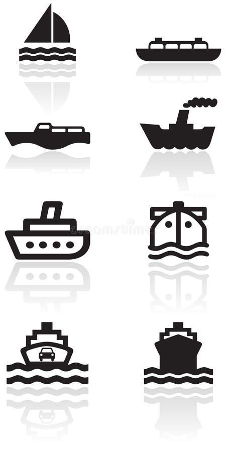vektor för set symbol för fartygillustration vektor illustrationer