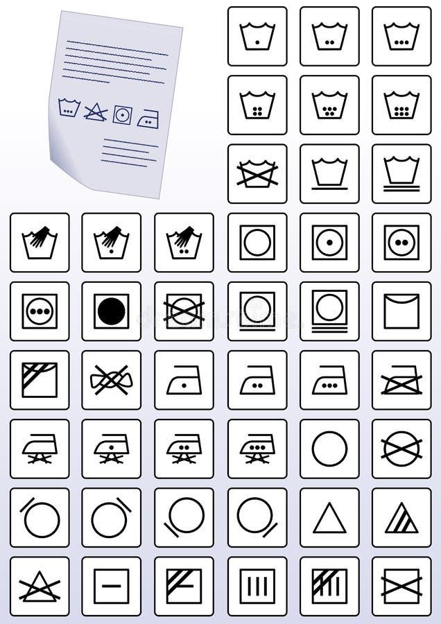 vektor för set symboler för dräktomsorgsanvisning stock illustrationer