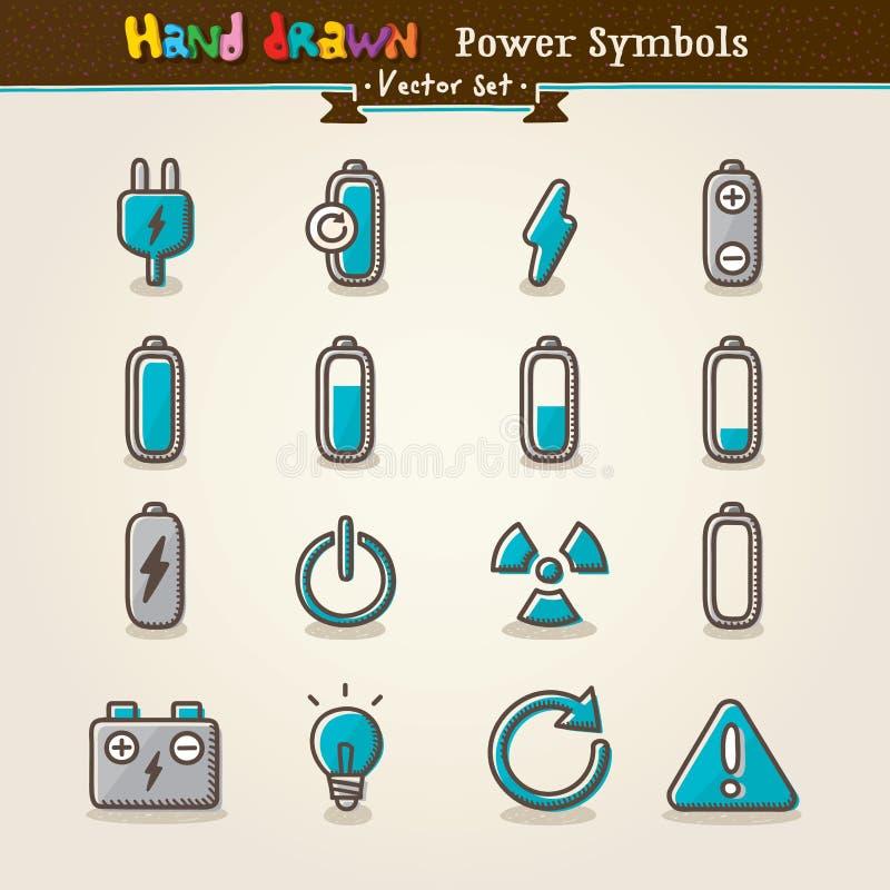 vektor för set symboler för ström för drawhandsymbol royaltyfri foto