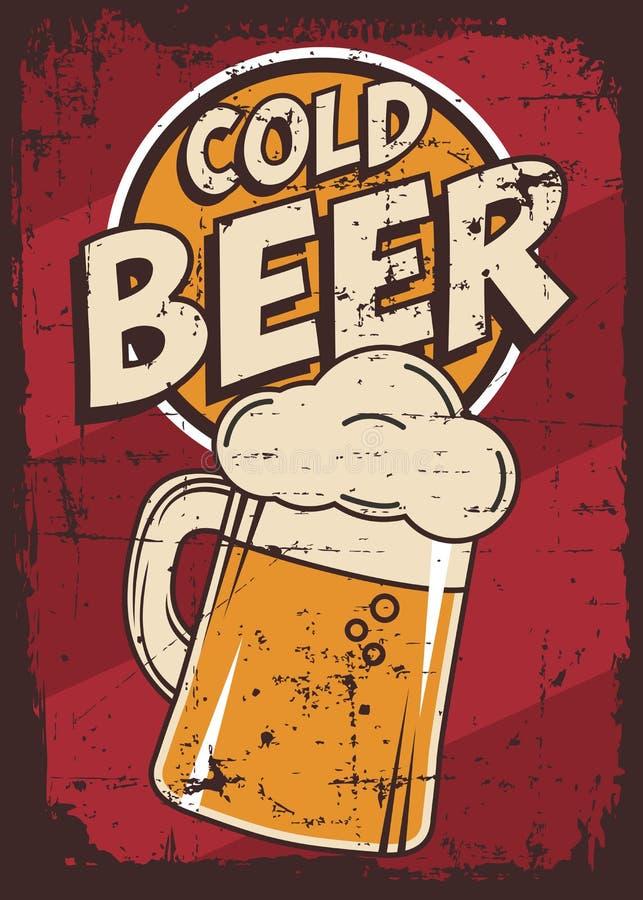 Vektor för Signage för tappning för kallt öl Retro stock illustrationer